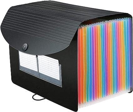 Carpeta Clasificadora 26 Bolsillos - ABClife Archivador A4 acordeón de gran Capacidad soporte Extensible portátil acordeón Clasificador Documentos para Office School,Etiquetas del alfabeto A-Z: Amazon.es: Oficina y papelería