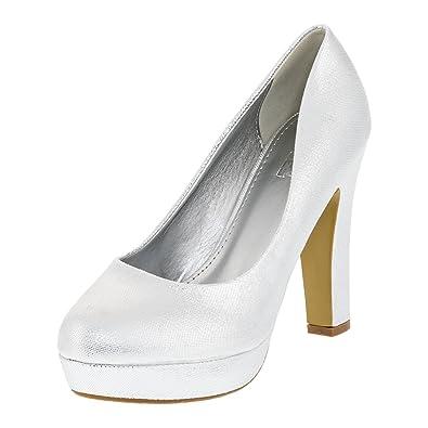 Fashionteam24 Damen Pumps High Heels Plateau Party Schuhe