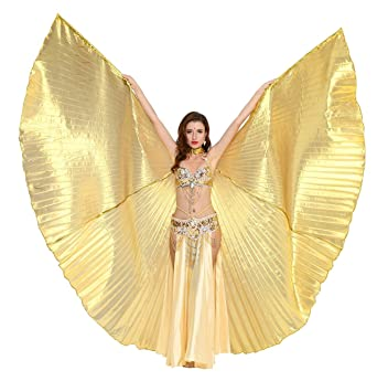 52a1e3a9d Dance Fairy Gold Belly Dance Isis Wing with Sticks/Rods: Amazon.co ...