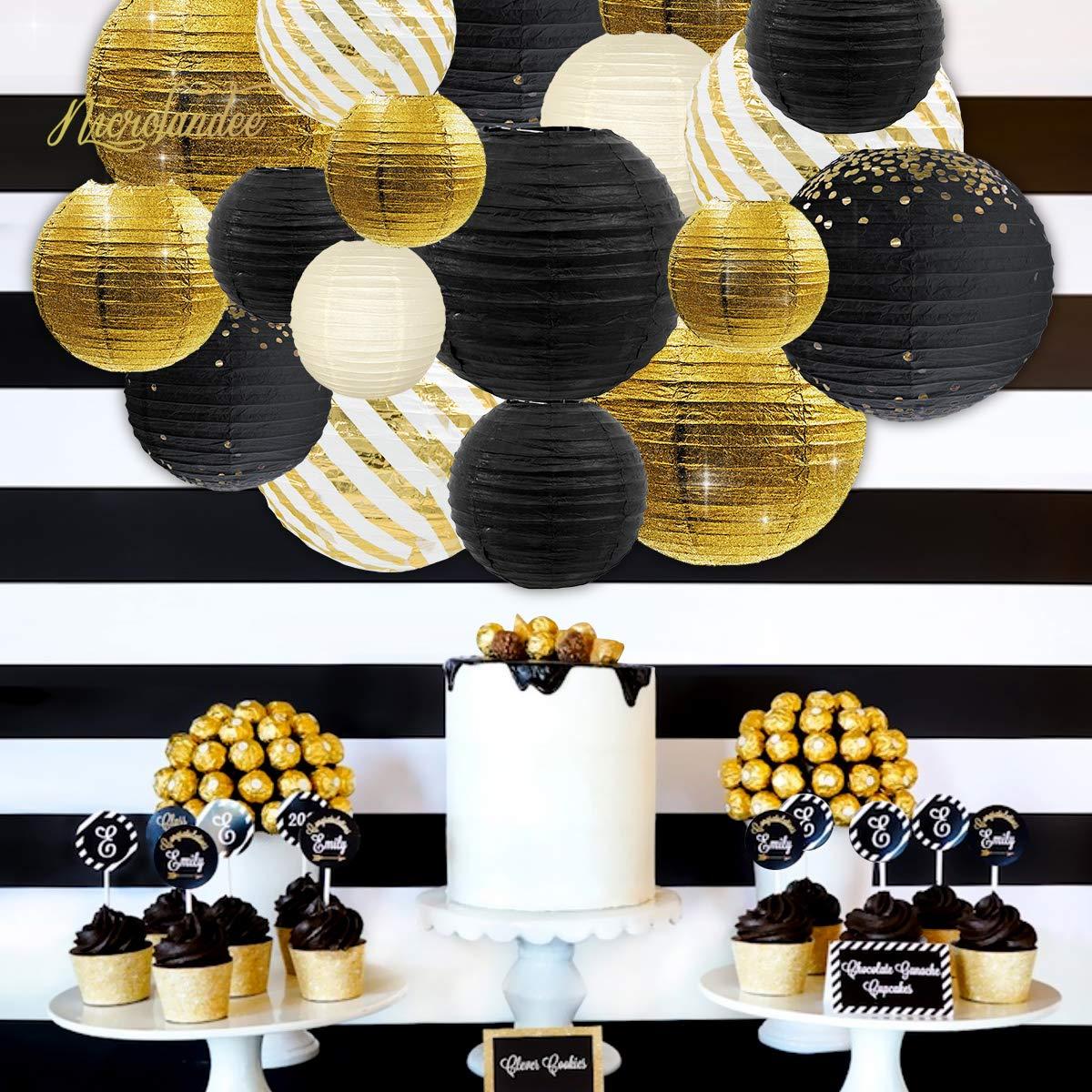 NICROLANDEE Black Gold Metallic Glitter Paper Lantern Decorations with Gold Foil Metallic Fringe Curtains for Graduation Wedding Bridal Shower Hen Bachelorette Birthday Anniversary Backdrop Decor by NICROLANDEE (Image #3)