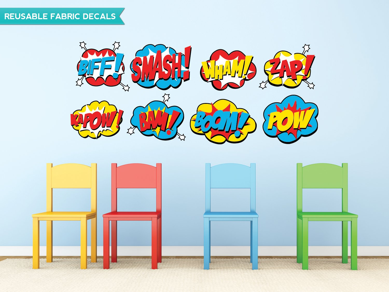 Sunny Decals Superhero Word Bursts Fabric Wall Decals, Large