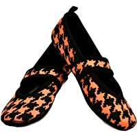 Nufoot Betsy Lou Women's Shoes, Best Foldable & Flexible Flats, Travel & Exercise Shoes, Dance Shoes, Yoga Socks, Indoor Shoes, Slippers, Peach With Black Hounds Tooth, Small