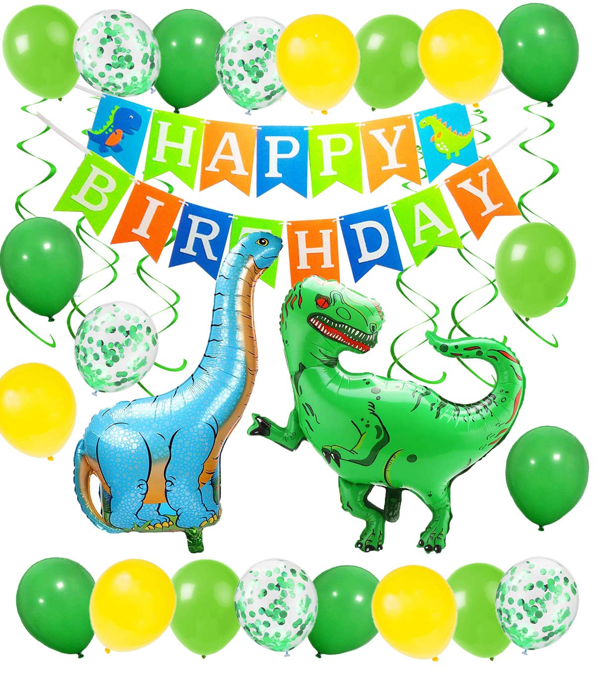 Dinosaur Balloons Dino Happy Birthday Banner Birthday Party Decoration for Boys and Girls Dinosaur Theme Party Supplies Favors for Baby Shower Jungle Birthday
