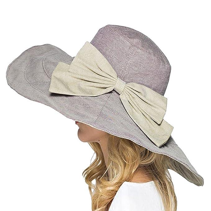 c87052ae129 Elonglin Womens Super Large Brim Beach Hat Brim Foldable with Bowknot Beach  USP Sun Hat Anti