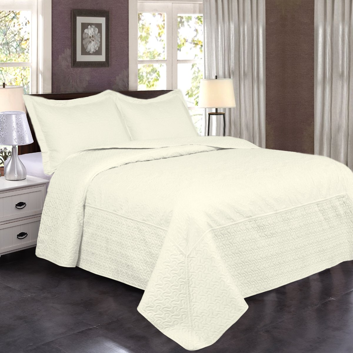 Jml Ultrasonic Quilt Set Queen Size - Brushed Microfiber - Soft and Breathable, Lightweight, Hypoallergenic and Dust Mite Resistant Solid Color Bedding Coverlet Set, White