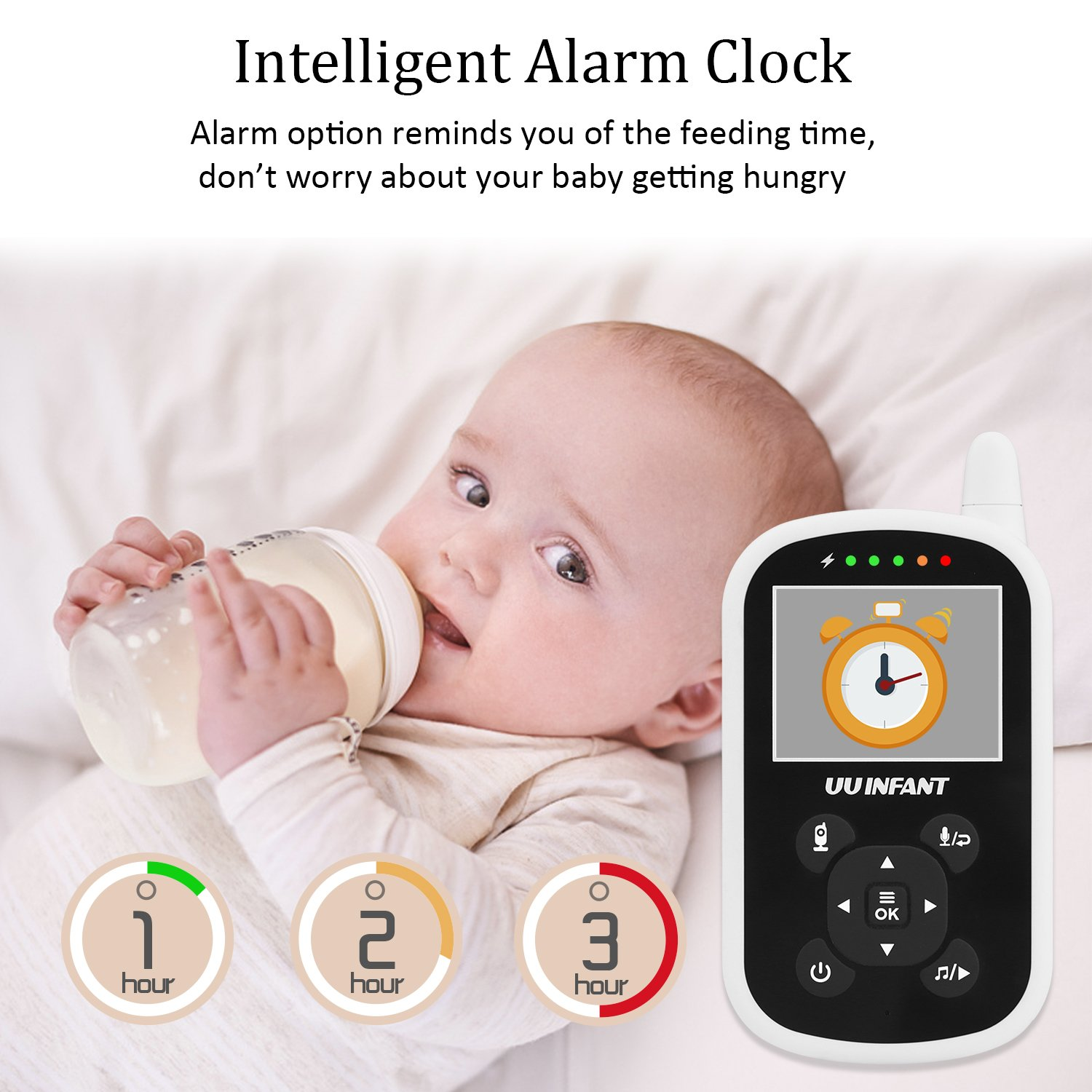 Baby Monitor, Video Baby Monitor with Camera- Wireless Video Monitor for Baby Safety- with Infrared Night Vision/Two Way Talkback/Temperature Monitor/Lullaby-Play (White) by UU Infant (Image #8)