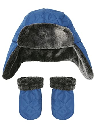 6ea107dc5 M&Co Baby Boy Blue Quilted Outer Grey Faux Fur Lined Trapper Hat ...
