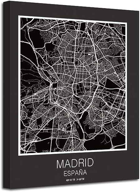 Cuadro Mapa Madrid Ciudad En Lienzo Canvas Impreso Decoración (Negro, 60 x 80 Cm Sin Bastidor): Amazon.es: Hogar