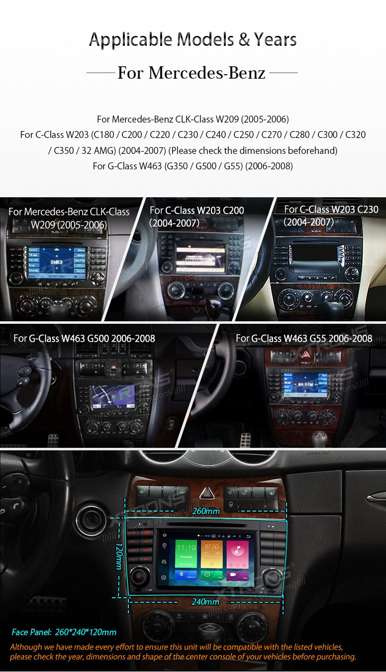 XTRONS Android 6.0 Octa-Core 64Bit 2G RAM 32GB ROM 7 Inch Capacitive Touch Screen Car Stereo Radio DVD Player GPS CANbus Screen Mirroring Function OBD2 Tire Pressure Monitoring for Mercedes-Benz by XTRONS (Image #3)