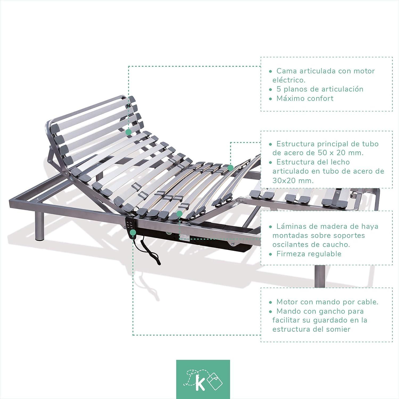 Dreaming Kamahaus Cama Articulada 5 Planos   Motor con Mando por Cable  135 x 190cm  