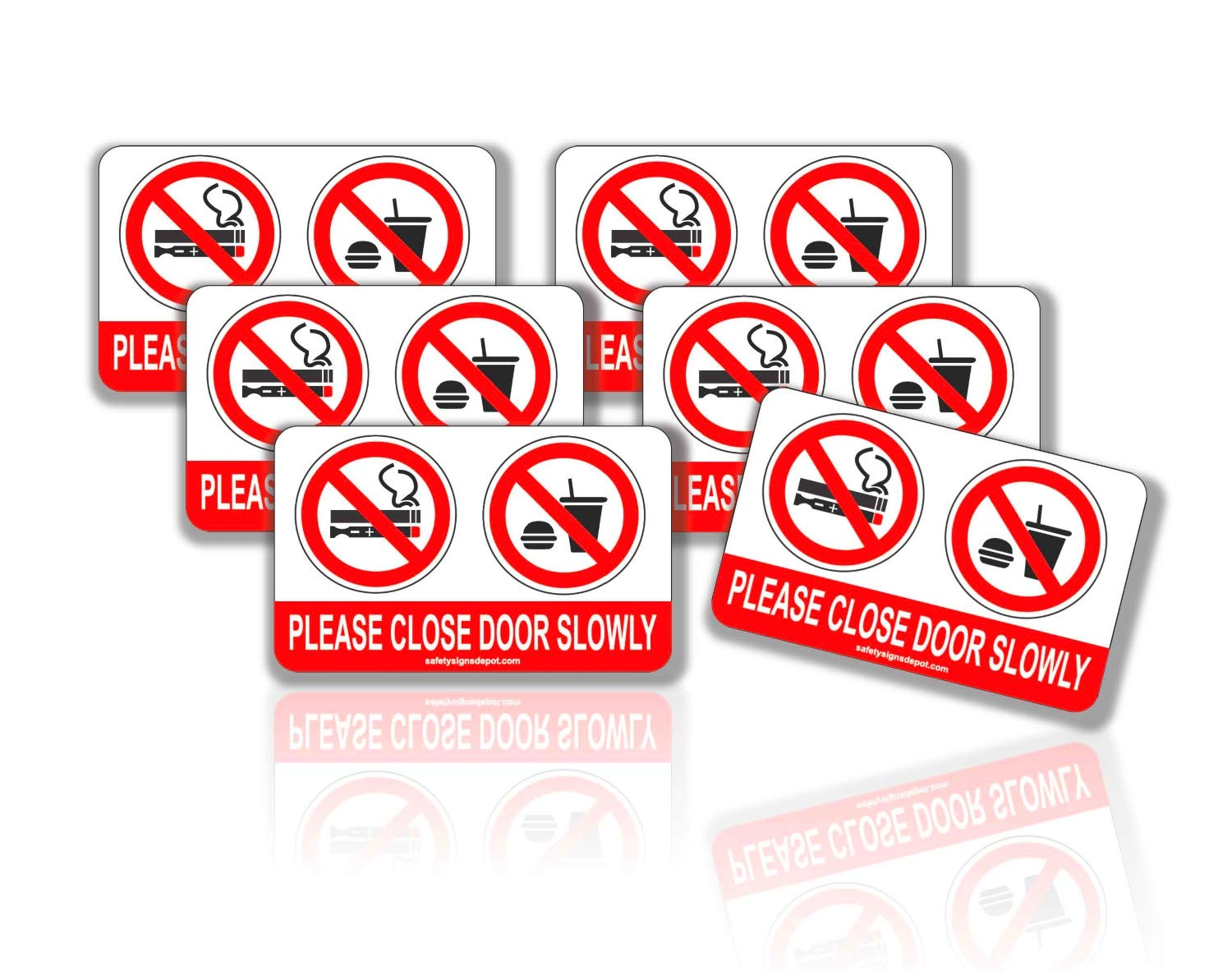No Smoking No Vaping No Eating or Drinking Close Door Slowly Gently in This Vehicle Stickers Pack of 6- UV Protected for Car Windows, Doors and Dashboard