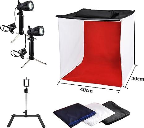 Photo Master Caja Fotografía 40 x 40 x 40 cm Lámpara LED Softbox ...