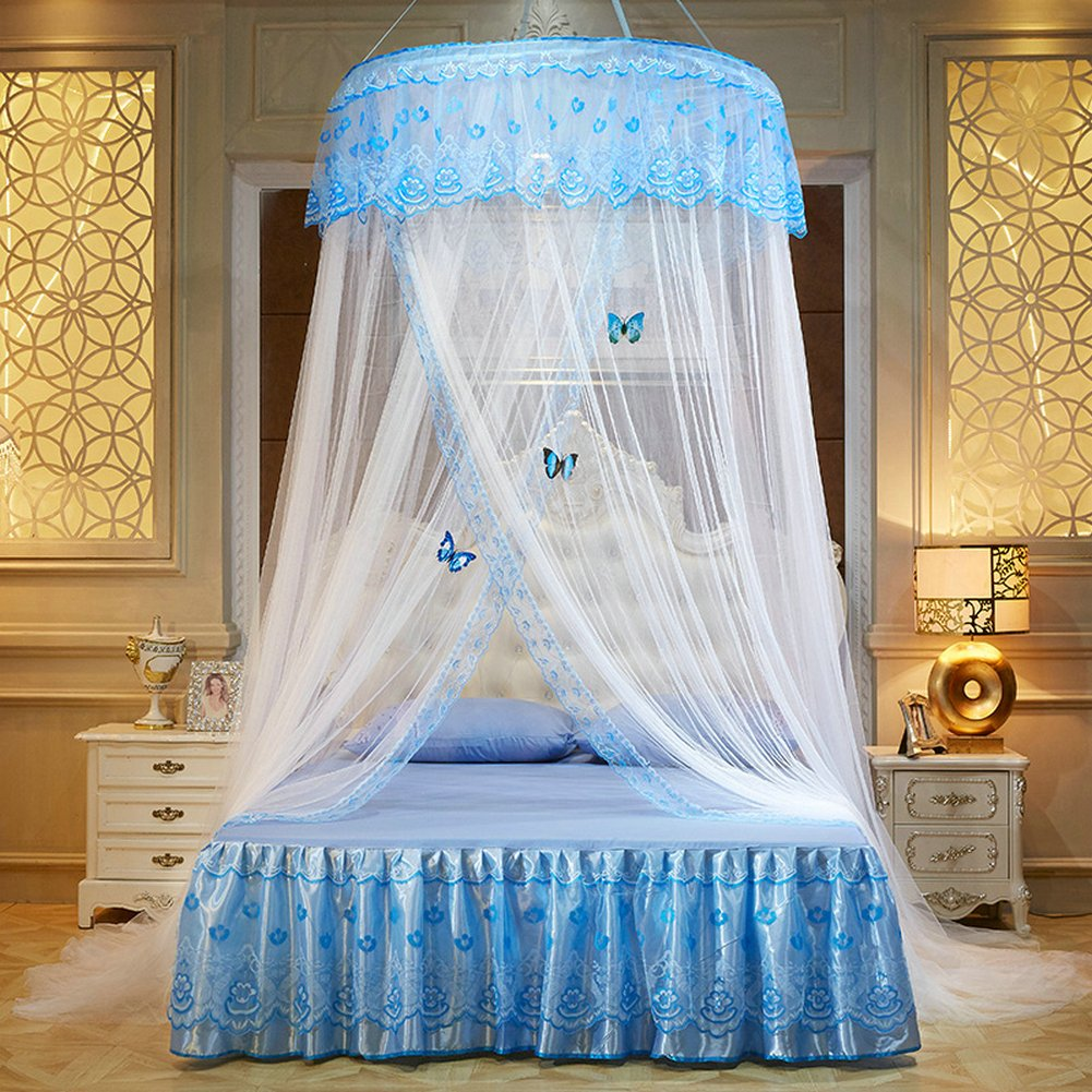 WLHOPE Mosquito Net Canopy Ceiling Stylish Lace Princess Butterfly Dome Mosquito Net Diameter 1.2M Bed Cotton Cloth Tent Baby Kids Indoor Reading Play Games House Anti-Mosquito Insect Netting (White)