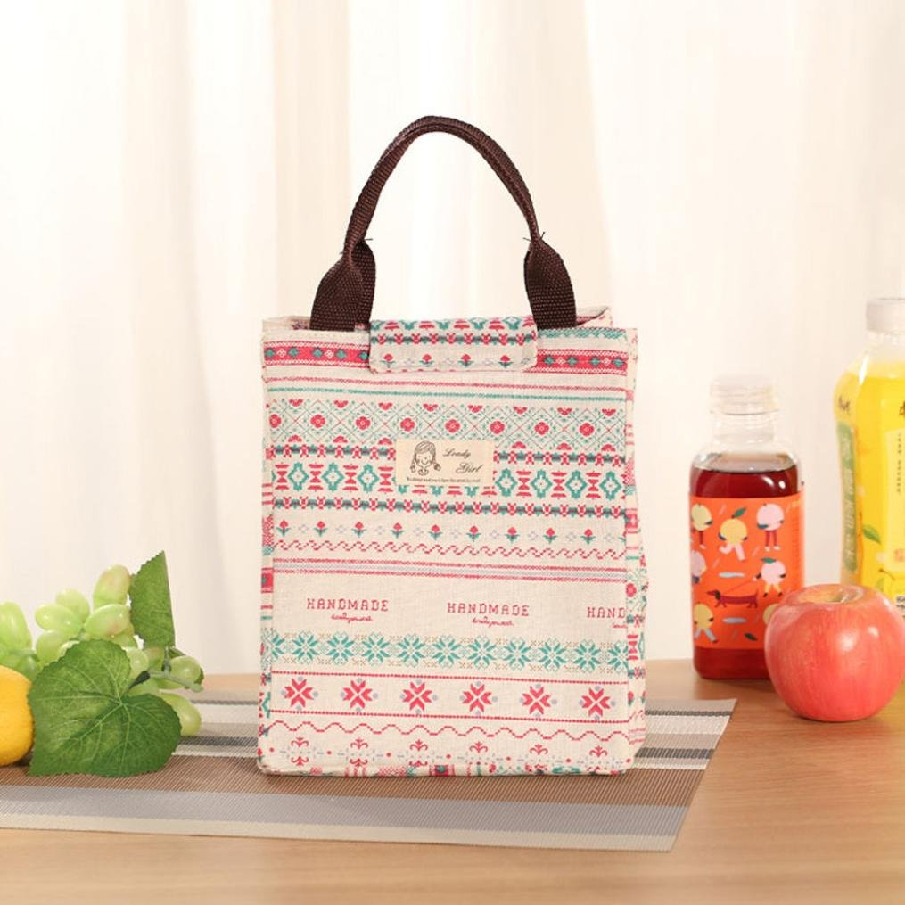 Lunch Box,IEason Clearance Sale! Insulation Package Portable Waterproof Canvas Lunch Bags Lunch With Rice (C)