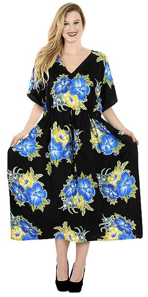 c7474e889 LA LEELA Mujeres caftán túnica Impreso Kimono Libre tamaño Largo Maxi  Vestido de Fiesta para Loungewear Vacaciones Ropa de Dormir Playa Todos los  días ...