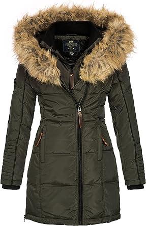 Oferta amazon: Geographical Norway Belissima - Chaqueta de invierno para mujer con capucha de piel XL Talla M