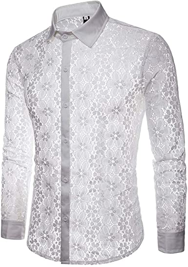 ZODOF Hombre Camisa Manga Larga Slim Fit Camisa Transparente ...