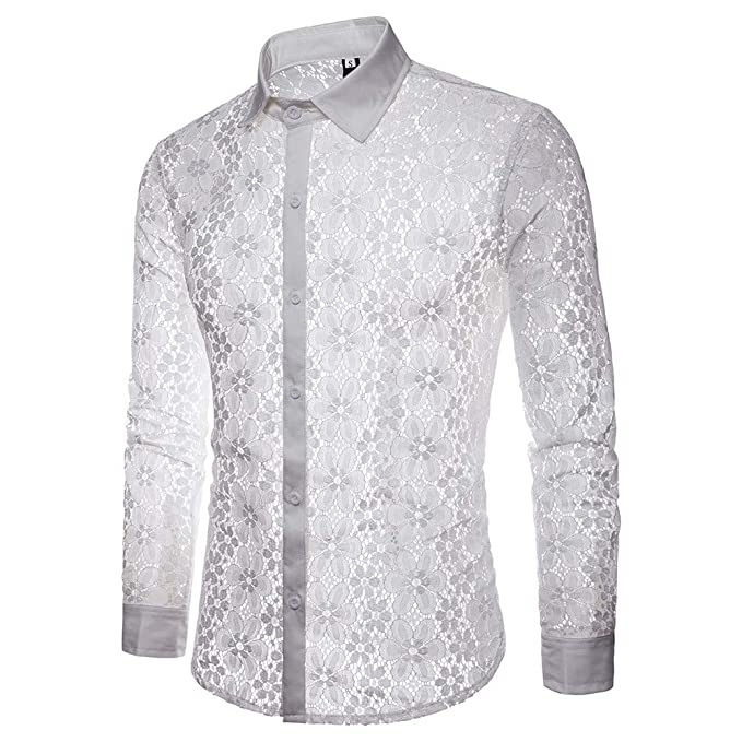 e3679edd2 Cebbay Camisa de Manga Larga de Encaje para Hombre Solapa Casual Calado  Ropa de Moda del
