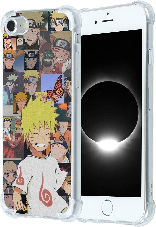 Naruto-Anime iPhone 7/8/SE 2020 Case,Japan Anime Cartoon Naruto Akatsuki Cute iPhone Case for Boys Men Girls,Uzumaki Hatake Kakashi Itachi Cool Anime Design Soft TPU Clear Case for iPhone 7/8/SE 2020