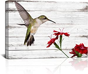 """Vintage Hummingbird Canvas Wall Decor Flying Bird Red Flowers with Wood Board Background Picture Rustic Animal Canvas Artwork Poster Living Room Home Wall Art Gift Stretched and Framed Ready to Hang 24""""x36""""x1 Piece"""