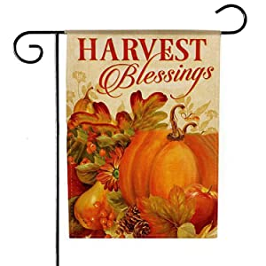 Deloky Welcome Fall Pumpkin Garden Flag-12.5 x 18 Inch Double-Sided Printed Thanksgiving Autumn Harvest Yard Burlap Banner for Home & Outdoor Decoration