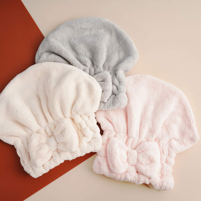 N-A Microfiber Hair Ultra-fine Drying Towel - YOYOSO Absorbent Twist Turban Princess Shower Cap for Women,Original Magic Instant Hair Dry Wrap Rapid Drying Hair Turban,3 Pack (HSYP-GFM002 ): Home & Kitchen