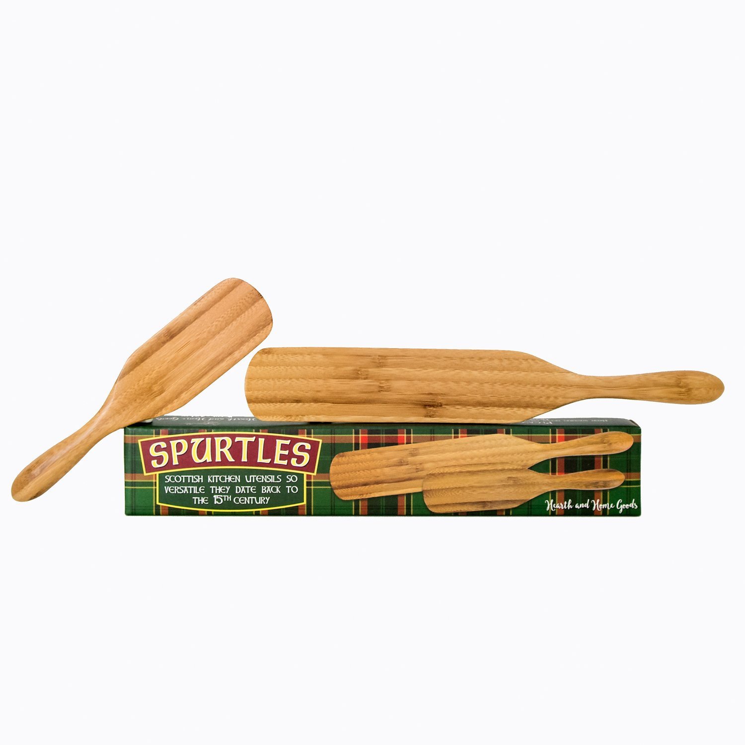 Spurtle Cooking Utensils | 2 Piece Kitchen Tools Set | Heat Resistant, Wooden Bamboo Spatula/Stirring Spoon | Unique, Multifunction Utensil | Safe for Cookware by Hearth and Home Goods