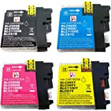 Set of 4 PefectPrint Compatible Ink Cartridge For Brother Printer MFC J220 J265W J410 J415W J615W DCP J125 J315W J515W