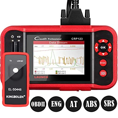 LAUNCH OBD2 Scanner CRP123 - Engine/ABS/SRS/Transmission Code Reader Car Diagnostic Scan Tool,4 in 1 Live Data Stream Graph,Free Update + EL-50448 TPMS Tool: Automotive
