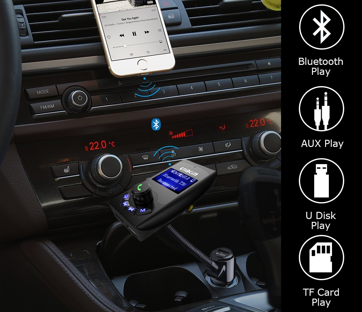 Lobkin Wireless In-Car Bluetooth FM Transmitter Radio Adapter Car Kit With USB Charger Support USB Flash Drive Micro SD Card AUX Input 2017 Model