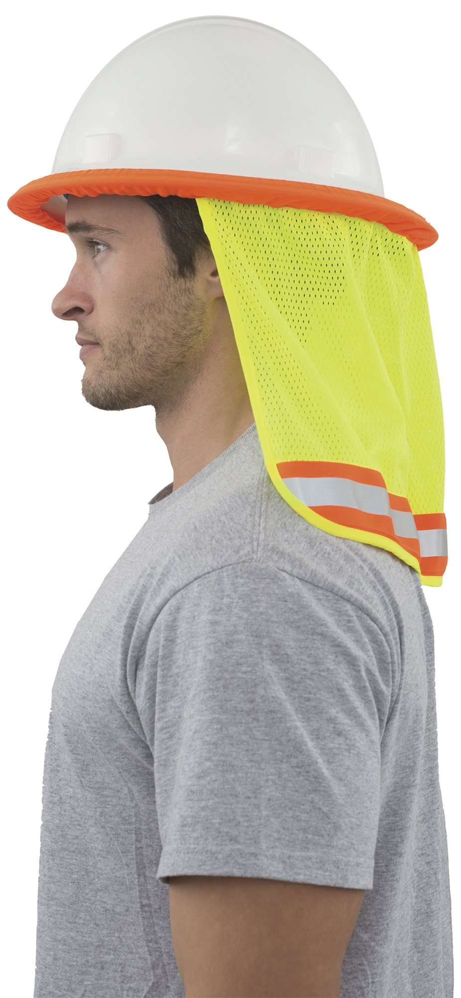 3/PACK - Neck Sun Shield For Hard Hats Hi Visibility Mesh - Hi Viz Lime