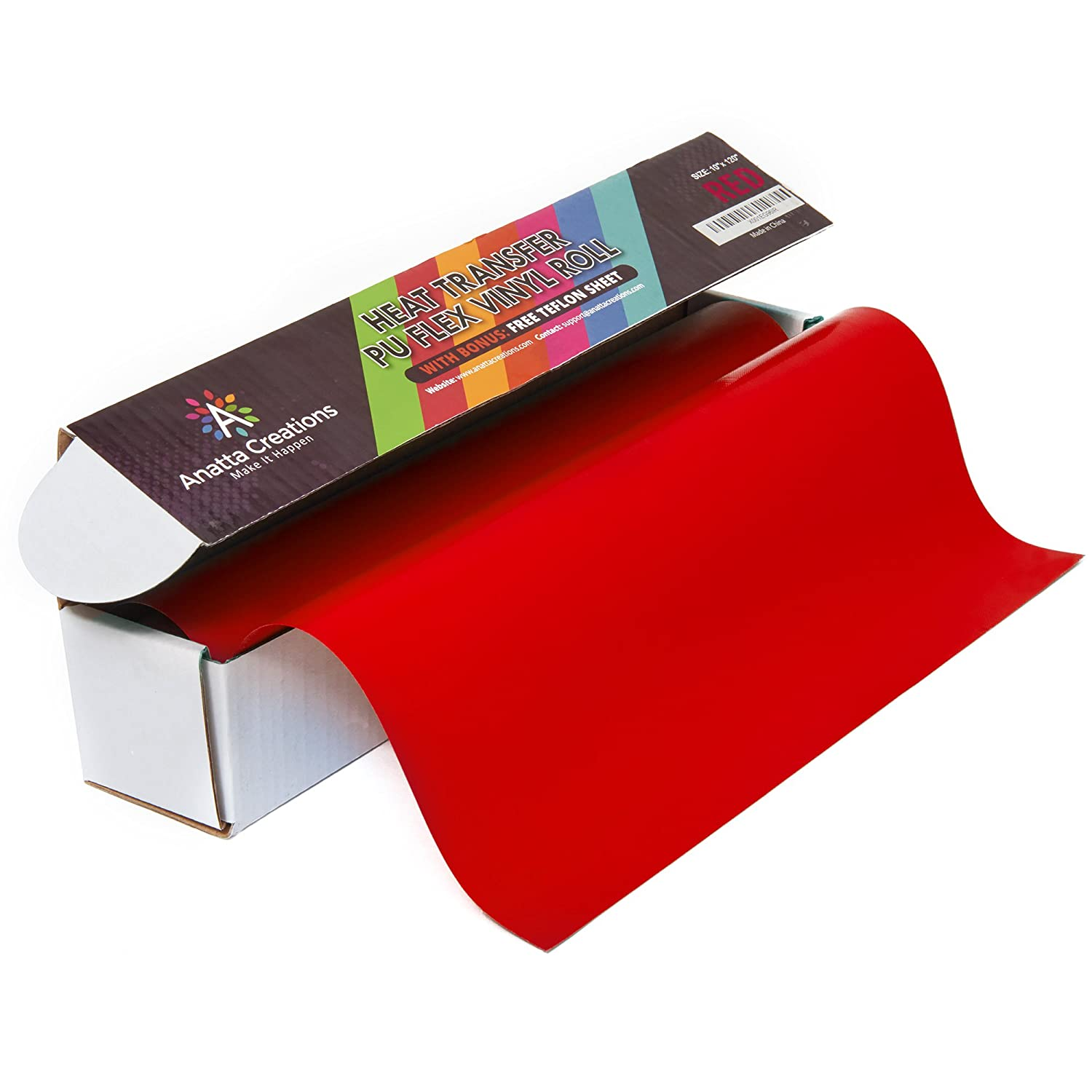 Heat Transfer Iron On Vinyl Roll - 100% PU, 10 x 10', RED, with Free Teflon Sheet 12x10, Compatible with Silhouette Cameo Cricut, Suitable for Professionals by ANATTA CREATIONS 10 x 10'