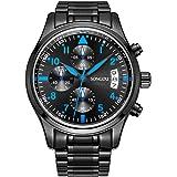 SONGDU Men Chronograph Multi Function Quartz Watch with Black Stainless Steel Bracelet,Black Dial and Blue Hand 9092A-P57EL