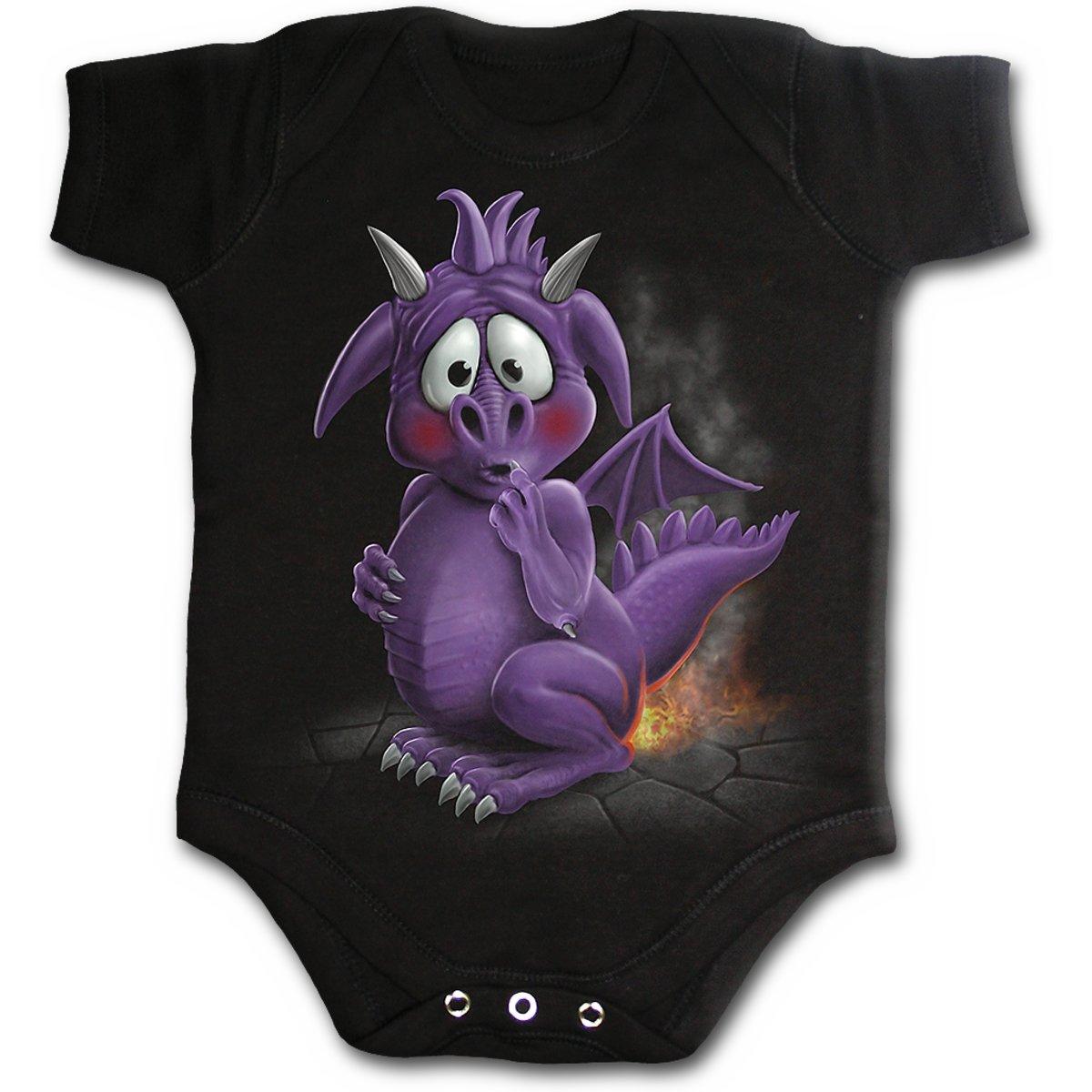 Spiral Baby-Boys - Dragon Relief - Baby Sleepsuit Black K002F017