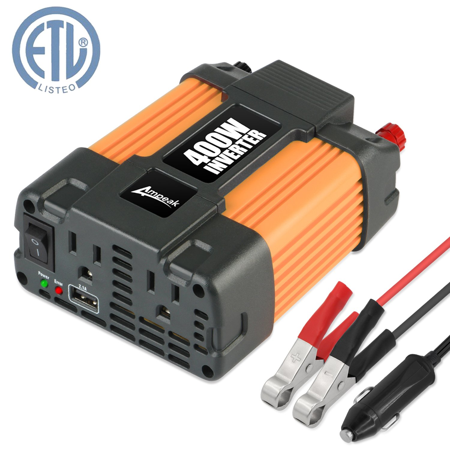 Ampeak 400W Power Inverter DC 12V to 110V AC Car Inverter with 2.1A USB Car Charger