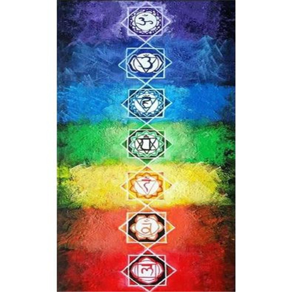 Rainbow Tapestry Yoga Towel Hippie Chakra Tapestries Bohemian Wall Hanging Beach Mat