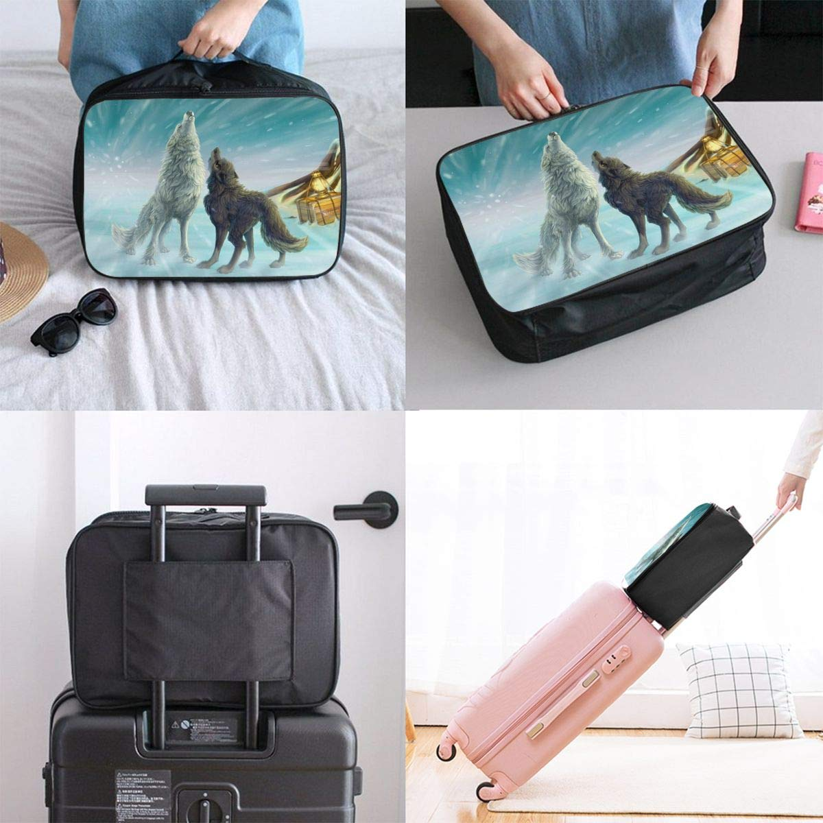 Travel Luggage Duffle Bag Lightweight Portable Handbag White Black Wolf Pattern Large Capacity Waterproof Foldable Storage Tote
