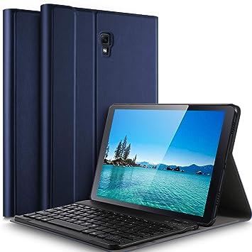 IVSO Teclado Estuche para Samsung Galaxy Tab A 10.5 SM-T590/T595 (QWERTY English), Slim Stand Funda con Removible Wireless Teclado para Samsung Galaxy ...
