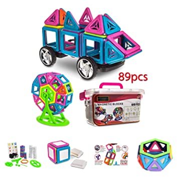 76 Pcs Magnetic Building Blocks Tiles Educational Toys for Baby Kids DIY Gifts