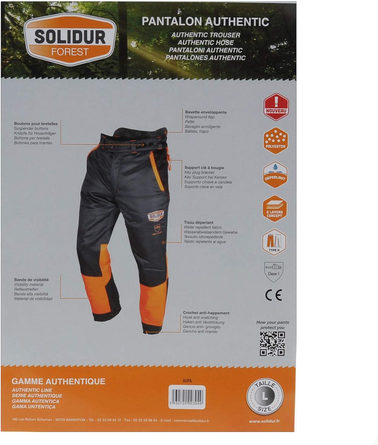 Pantalon professionnel adapt/é aux b/ûcherons Solidur AuthenticNoir