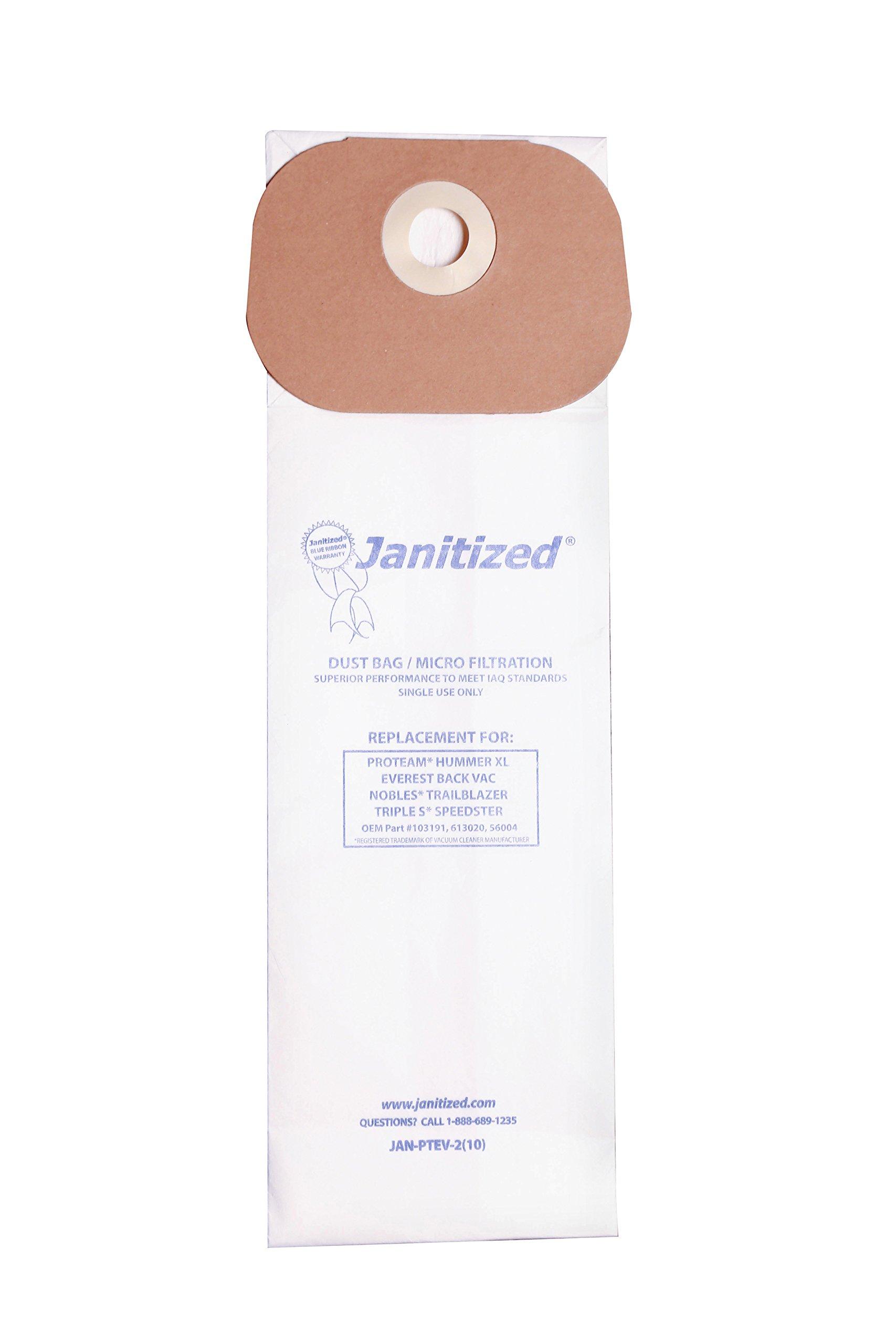 Janitized JAN-PTEV-2(10) Premium Replacement Vaccum Paper Bag, Nobles TrailBlazer XL, ProTeam Hummer XL, SSS Speedster Vacuums, OEM#613020, 103191, 56004 (Pack of 10)