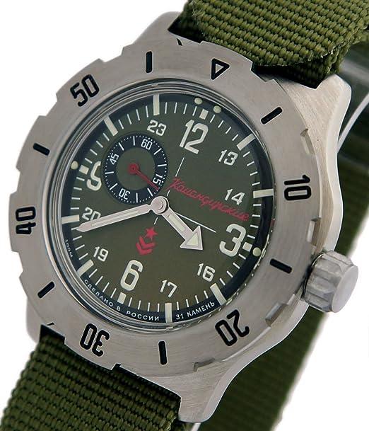 Vostok KOMANDIRSKIE K-35 ruso Militar reloj verde K35 con Zulu correa 2415/350501: Amazon.es: Relojes