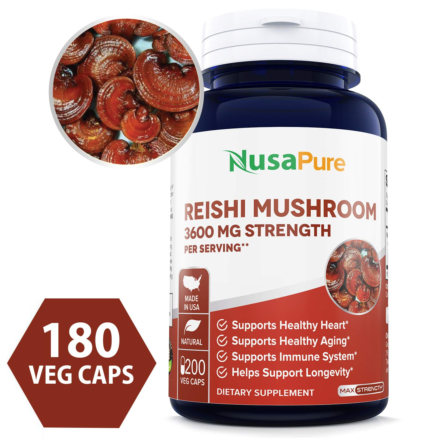 Reishi Mushroom Extract 3600mg 200 Veggie Caps (Non-GMO & Gluten Free) Promotes Heart Health - Helps Balance Blood Pressure & Hormones - Made in USA - 100% Money Back Guarantee - Order Risk Free!