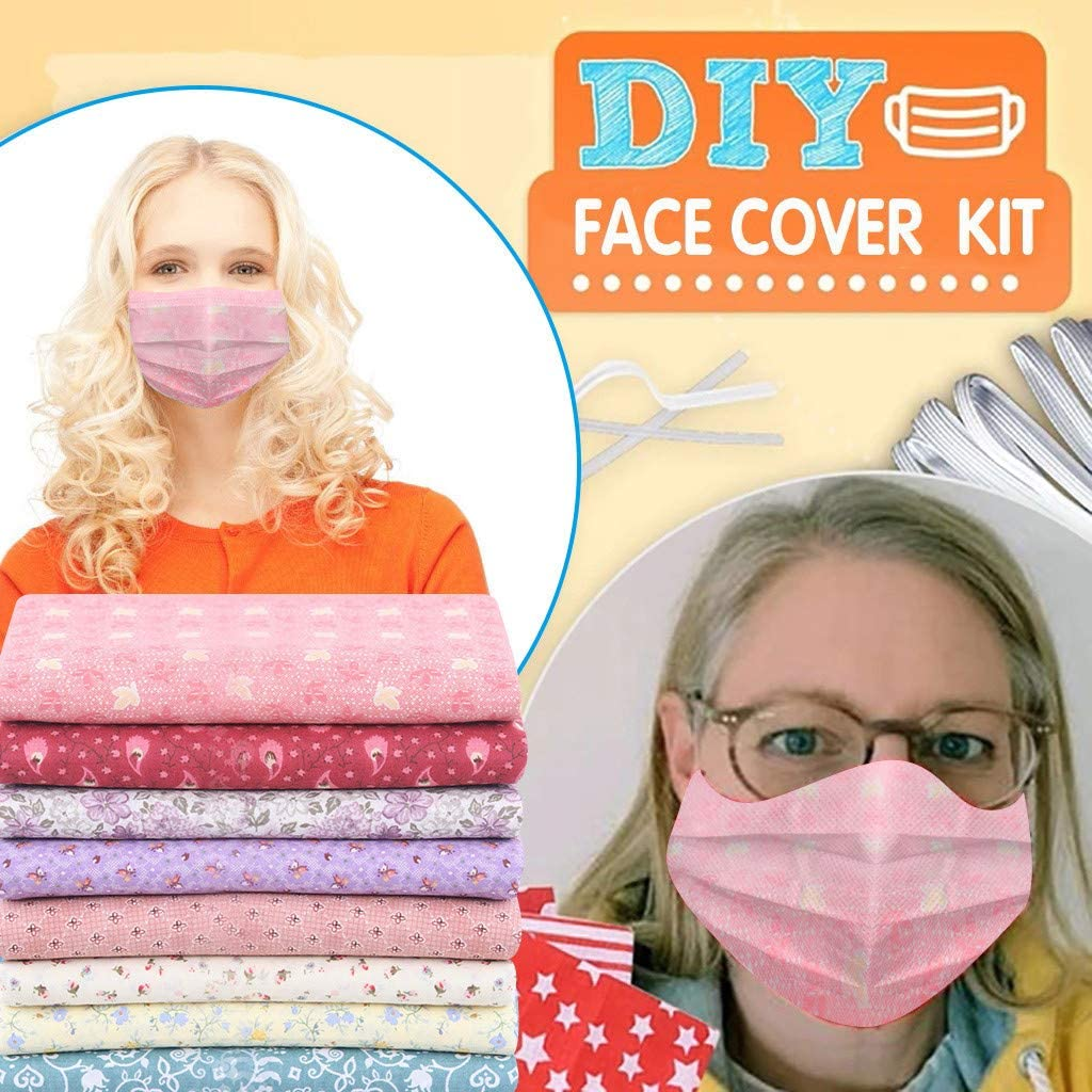 DIY Face Cover Kit Self-Made Face Protector Material Art Sewing Crafts Kit Includes 8pcs Fabric Blue 20pcs Nose Bridge Strip,10m Sewing Elastic