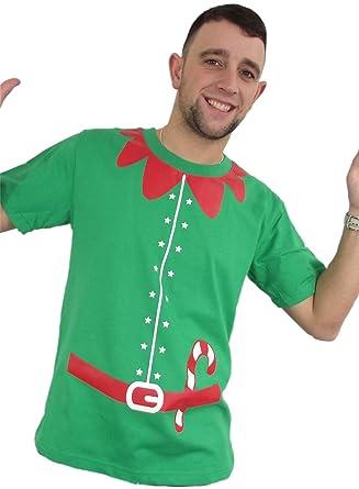 Christmas Jumper Elf Outfit T Shirt Medium Green Amazon Co