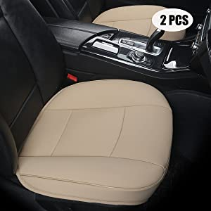 EDEALYN (Width 20.8×deep 21×Thick 0.35 inch Car Seat Cushions, 2pcs PU Leather car seat Covers car seat Protector for Car Driver and Passenger seat Bottom (Beige-B)
