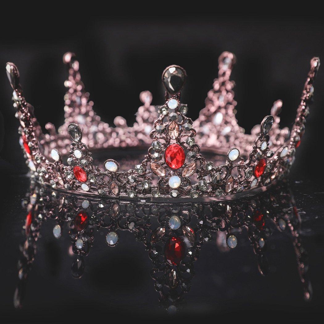 Handcess barocco oro da sposa, corona e regina con strass tiara accessori per capelli per sposa e damigelle d' onore