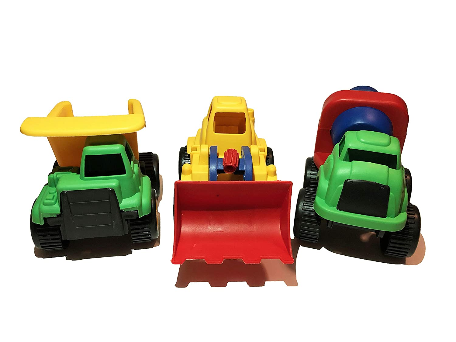 Nikkis Knick Knacks Plastic Toy Construction Vehicles Dump Truck Cement Fixer and Front Loader