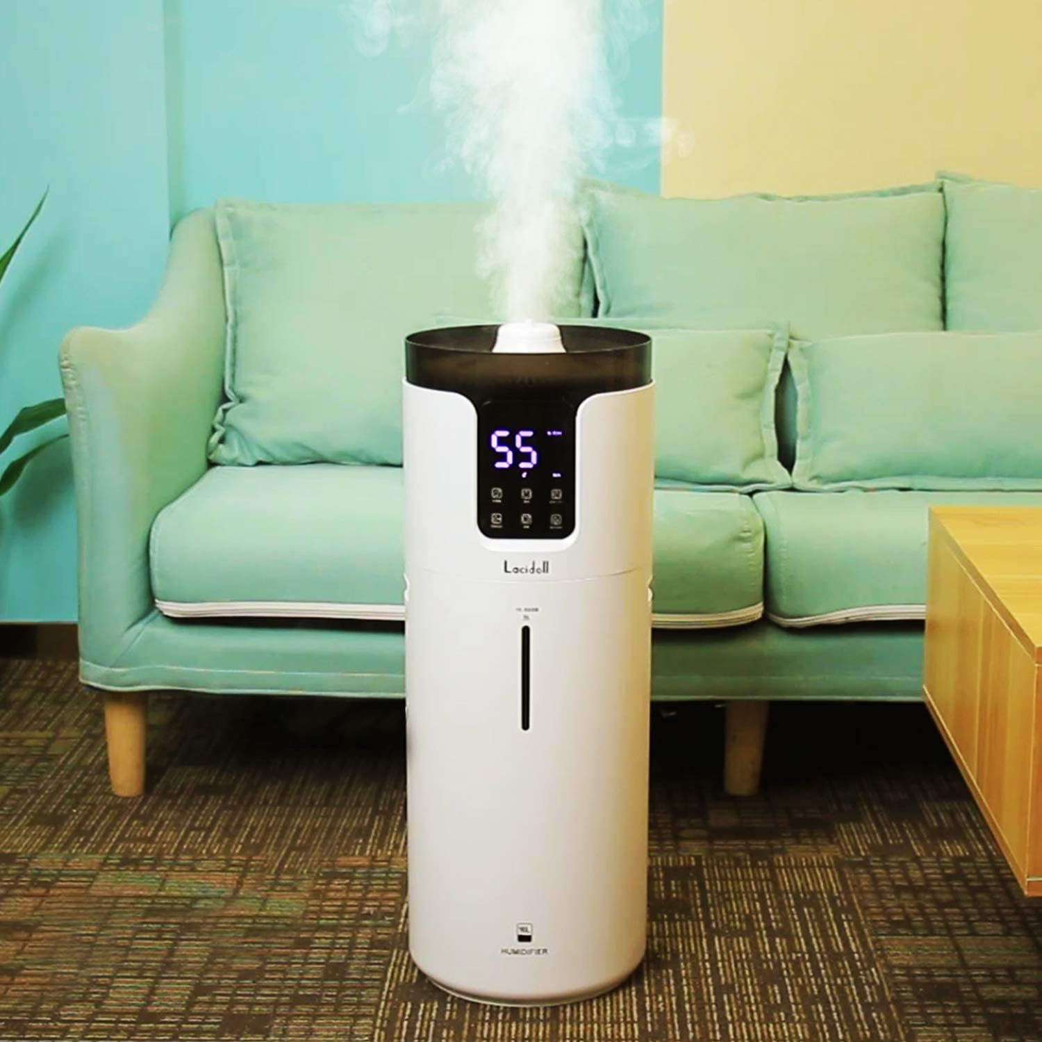 Lacidoll 4.2 Gal Tower Humidifiers for Large Room 1000 sq. ft, 16L Top Fill Cool Mist Ultrasonic Humidifier Quiet 1000mL/h Output with 360° Mist Tube for Home Office Workshop Greenhouse, White