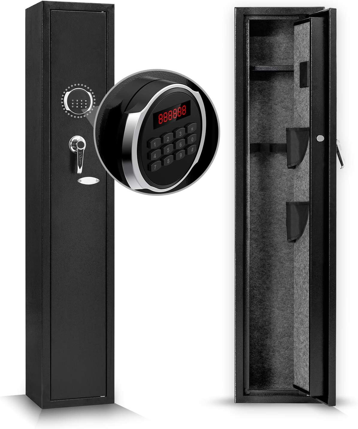 Large Biometric Fingerprint Rifle Security Cabinet,Smart Quick Access Indoor Home 4 Gun Safe Lock Storage Ammunition Handgun Firearms